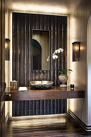 Asian Powder Room with Vessel sink, Shoji Bonsai Breeze 18 3/4-Inch-H Corbett Wall Sconce, Hardwood floors, High ceiling