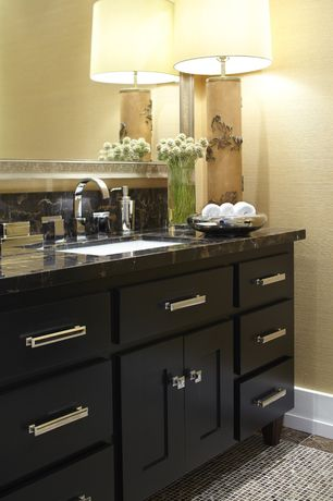 Traditional Powder Room with Flat panel cabinets, Shaker style cabinetry, ceramic tile floors, Powder room