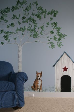 Country Playroom with Carpet, Mural, Dotted tree peel & stick appliques, Wall pops puppies wall decals