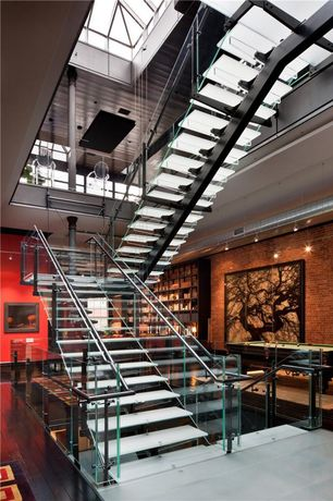 Contemporary Staircase with Glass staircase, Exposed beam, High ceiling, Skylight