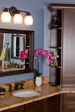 Craftsman Master Bathroom with Kashmir gold polished granite, Paint, Jeremiah lighting bradley 3 light bathroom light