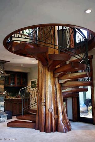 Rustic Staircase with French doors, Tree trunk staircase, Carpet, can lights, Spiral staircase, Standard height, Natural wood