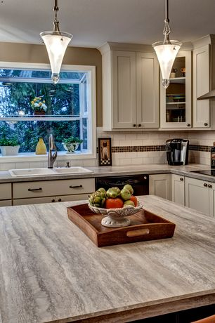 Craftsman Kitchen with Cabinet finish, Pendant light, L-shaped, Flat panel cabinets, Subway Tile, Travertine counters