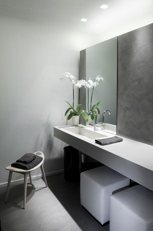Contemporary Master Bathroom with Master bathroom, Standard height, Concrete floors, can lights, Undermount sink, Paint