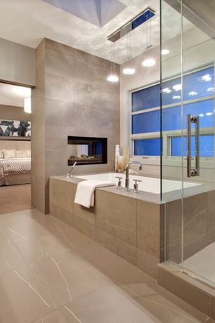 Contemporary Master Bathroom with Paint 1, drop in bathtub, Wall Tiles, Casement, stone tile floors, Bathtub, Shower, Paint 2