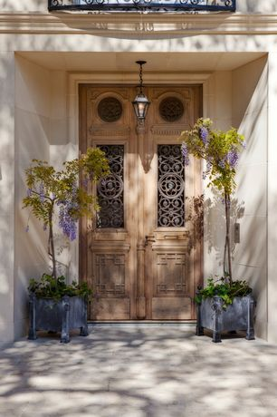 Rustic Front Door with Pathway, Troy lighting outdoor hanging light with clear glass in old rust finish, exterior tile floors