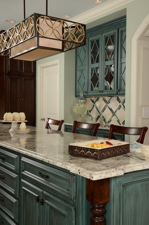 Contemporary Kitchen with Crown molding, One-wall, specialty door, Pendant light, Oregon Tile and Marble Bianco Bahia Granite
