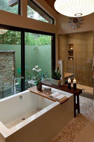 Contemporary Full Bathroom with High ceiling, Rain shower, Nelson saucer pendant lamp, frameless showerdoor, flush light