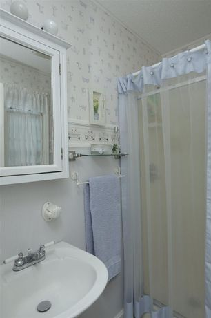 """Traditional Full Bathroom with Zenith 22"""" x 25"""" surface mount medicine cabinet, interior wallpaper, Wall mounted sink"""