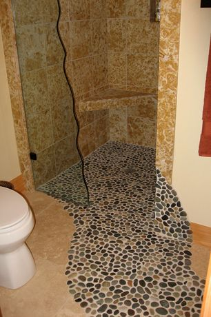 Rustic Full Bathroom with MS International Golden Sienna Travertine, Pebble tile shop bali ocean pebble tile