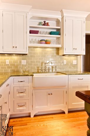 """Traditional Kitchen with Complex granite counters, Subway Tile, Light Taupe 3"""" x 6"""" Cream/Beige 3"""" x 6"""" Glossy Glass Tile"""