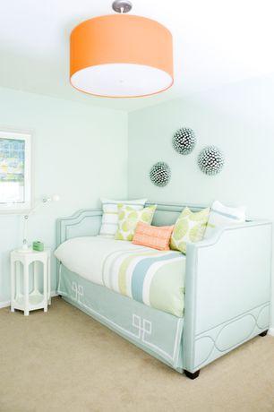 Contemporary Living Room with Dupioni silk orange shade 1 light pendant, Carpet, flush light