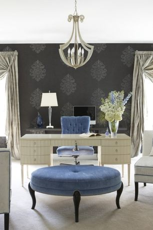 Traditional Home Office with Chandelier, Crown molding, Henredon Barbara Barry Lady's Desk, Damask wallpaper, Carpet
