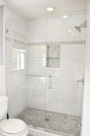 Traditional 3/4 Bathroom with Recessed shower niche, Ann sacks statuary classic stacked, Floor to ceiling shower tile