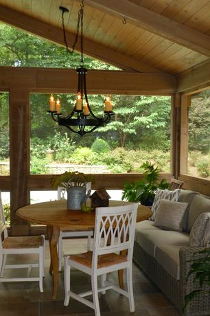 Craftsman Porch with TMS Farmstand Side Chair (Set of 2), Vaulted wood ceiling, exterior stone floors, Chandelier