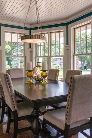 Contemporary Dining Room with Hardwood floors, Crown molding, Pendant light, Beadb, Wainscotting, Beadboard ceiling