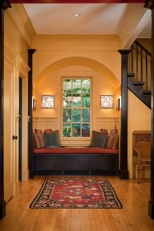 Traditional Entryway with Wood settee bench, Paint