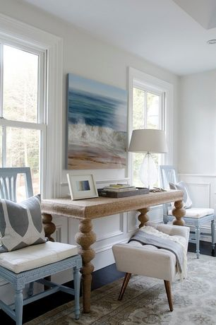 Cottage Home Office with Safavieh vintage stone area rug, double-hung window, Jonathan Adler Whitaker Upholstered Bench