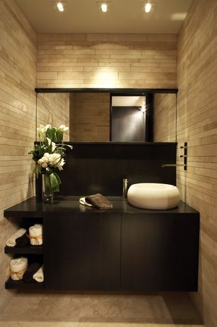 Contemporary Powder Room with Soapstone, Vessel sink, European Cabinets, Flush, Soapstone counters, Powder room