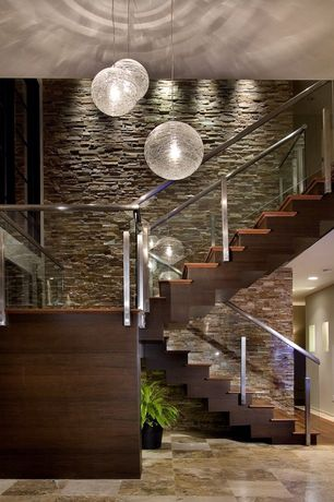 Contemporary Staircase with High ceiling, can lights, Floating staircase, Pendant light, Concrete tile