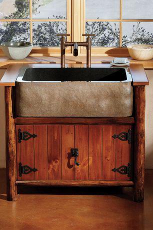 Rustic Powder Room with Stone front apron sink, Custom vanity, Allstone Group - KF33SB-BE Desert Yellow Granite Kitchen Sink