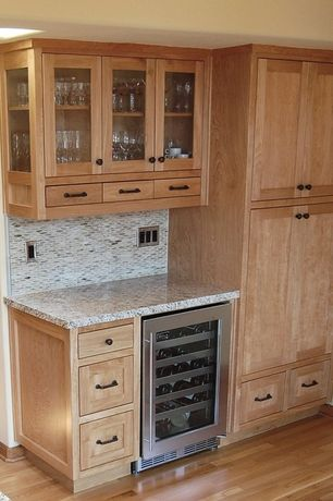 Modern Bar with Daltile chenille white 1 1/2 x 5/8 oval mosaic polished l191, Ms international bain brook brown granite