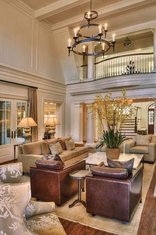 Traditional Living Room with Restoration hardware maxwell upholstered three-seat-cushion sofa, Columns, Box ceiling