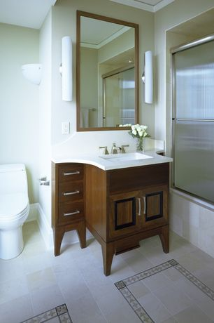 Traditional Full Bathroom with shower bath combo, stone tile floors, can lights, Bathtub, Wall Tiles, Shower, Undermount sink