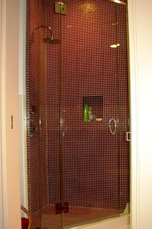 "Contemporary 3/4 Bathroom with Daltile Natural Hues Ceramic Floor & Wall Tile, Grohe 10"" Curved Rain Shower Arm"