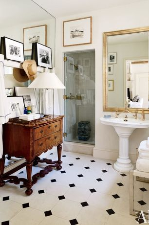 Traditional Full Bathroom with Pedestal sink, Rosen 6-drawer console, walnut, Wood counters, Flush, frameless showerdoor