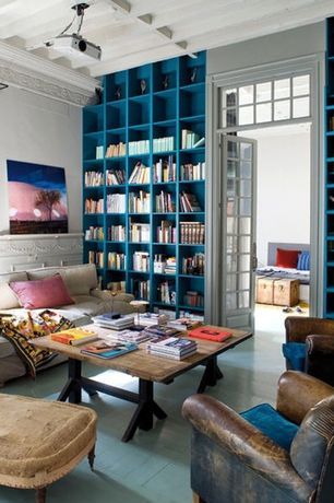 Eclectic Living Room with Standard height, Paint 2, Crown molding, Hardwood floors, Built-in bookshelf, Paint 1, Exposed beam