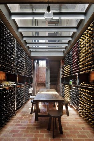 Contemporary Wine Cellar with French doors, Brick floors, Exposed beam, Standard height, Built-in bookshelf, picture window