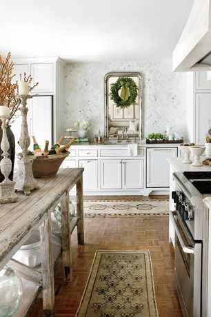 Country Kitchen with Complex marble counters, Inset cabinets, Custom hood, Undermount sink, Flat panel cabinets, L-shaped