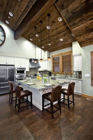"Eclectic Kitchen with Ceramic Tile, Jasper hardwood - handscraped oak collection malt  oak  builders  5"", Breakfast bar"