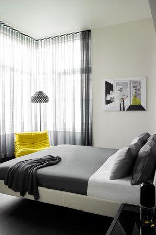 Contemporary Master Bedroom with Hardwood floors, Studio Stratus Upholstered Platform Bed - Cream