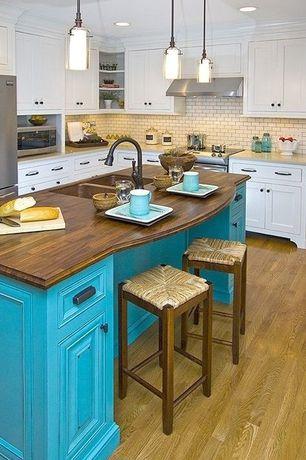 Traditional Kitchen with Wall Hood, Wood counters, full backsplash, Hardwood floors, Multiple Sinks, Kitchen island, L-shaped