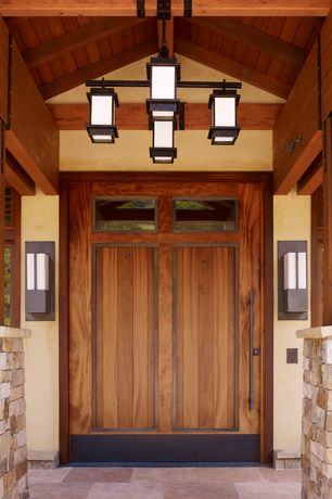 Craftsman Front Door with Pathway, Kichler Lighting Caterham 4 Light Square Chandelier in Olde Bronze, exterior stone floors