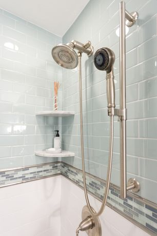 Traditional Full Bathroom with Susan Jablon Mosaics - 1x3 Inch Pale Aqua Blue Frosted Glass Subway Tile