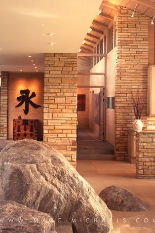 Asian Hallway with picture window, slate floors, High ceiling, Exposed beam, limestone floors, Stone wrapped column