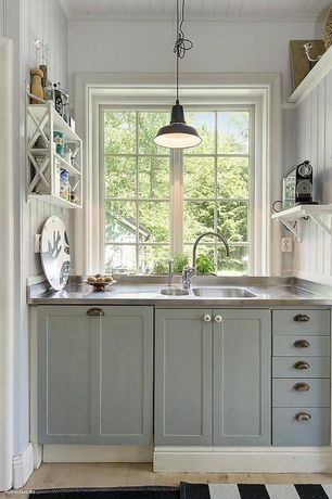 Country Kitchen with European Cabinets, Beadboard, Signature Hardware Embden Gooseneck Single-Hole Kitchen Faucet, One-wall