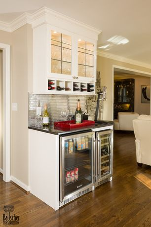 Traditional Bar with Hardwood floors, Crown molding, Built-in bookshelf, Standard height, can lights