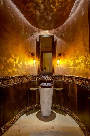 "Mediterranean Powder Room with Daltile isis 1"" x 1"" glass mosaic tile in amber blend, travertine floors, Soapstone counters"