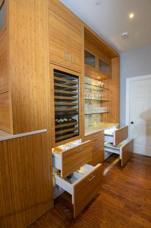 Contemporary Bar with Hardwood floors, Built-in bookshelf
