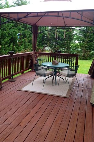 Traditional Deck with Gazebo, Cedar deck, Fence, Trex Transcend Fire Pit Ultra-Low Maintenance (Ulm) Composite Decking