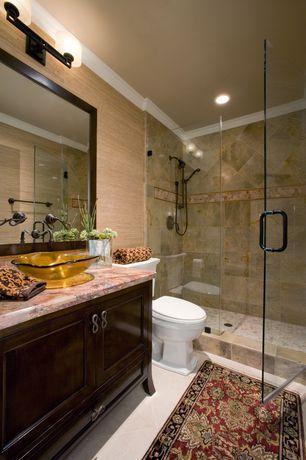 Traditional 3/4 Bathroom with Limestone, Vigo vg07505 atlantis 16.5 inch handmade glass vessel sink, Handheld showerhead