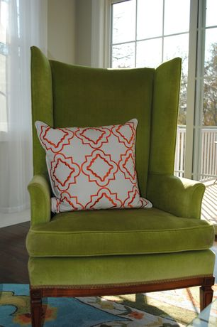 Contemporary Living Room with Paint, High wingback bergere