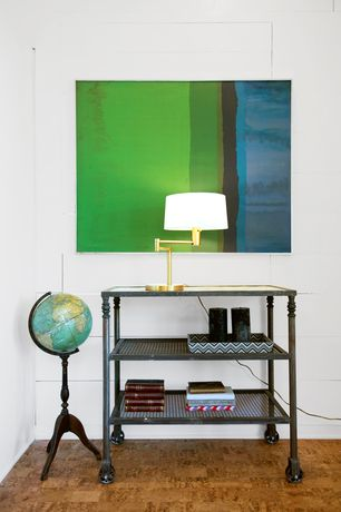 Contemporary Living Room with floor standing globe, Hudson Valley Danby D-1 Light Swing Arm Table Lamp in Vintage Brass