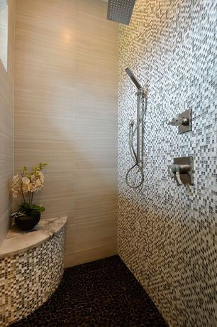 Contemporary Master Bathroom with Rain shower, Handheld showerhead, Bliss Midnight Stone and Glass Square Mosaic Tiles