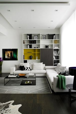 Contemporary Living Room with Built-in bookshelf, Hardwood floors, Natural Cowhide Rug - Brown and White, the L.A. collection