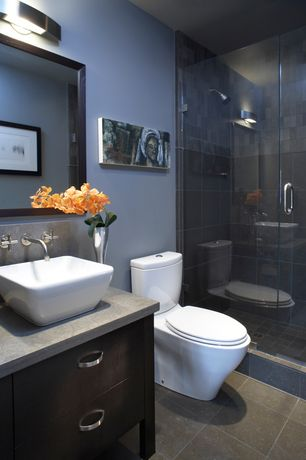 Contemporary 3/4 Bathroom with Elements of design french petite vessel bathroom sink
